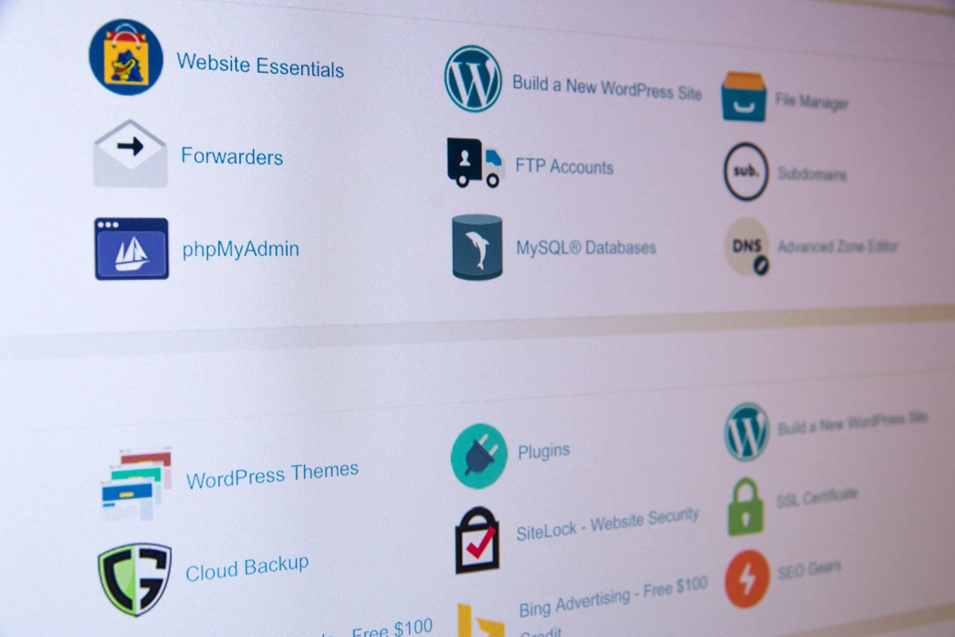Imagem de tela de painel da hospedagem em WordPress