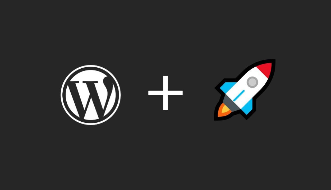 Imagem com fundo cinza-escuro com logotipo do WordPress e emoji e foguete.